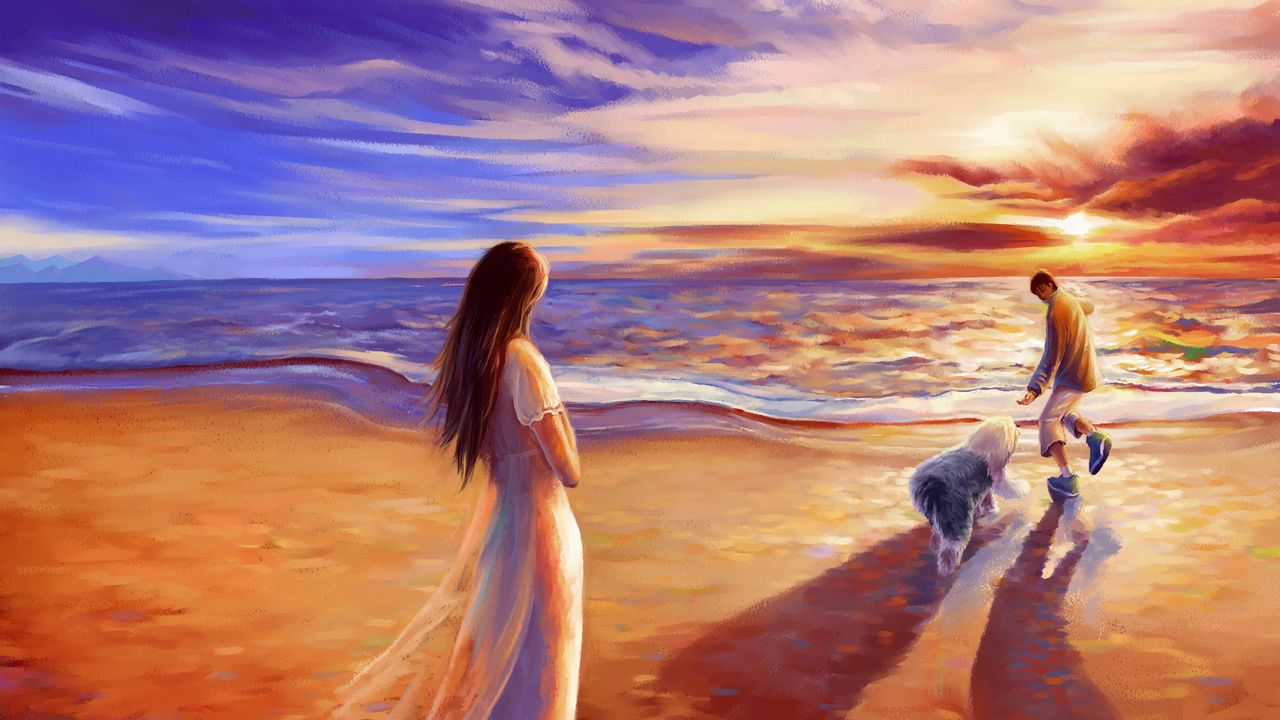 drawing canvas beach couple dog paint