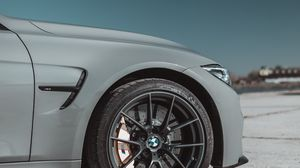 Preview wallpaper bmw, car, gray, wheel