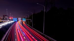 Preview wallpaper highway, lights, movement, night, road