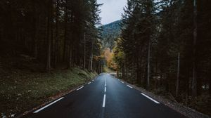 Preview wallpaper forest, mountain, nature, road, turn