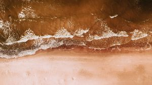Preview wallpaper aerial view, coast, sand, sea, water