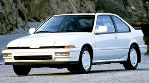 Preview wallpaper 1988, acura, car, front view, integra, mountains, white