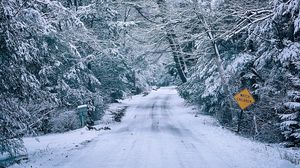 Preview wallpaper road, snow, trees, white, winter