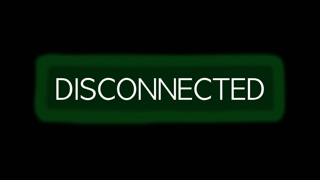 disconnect inscription green disconnected